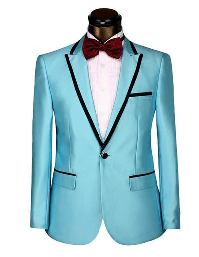 Groomsmen Peak Lapel Groom Tuxedos Blue/Red/Yellow Mens Suits Wedding Best Man Suit (Jacket+Pants+Tie+Hankerchief) B684