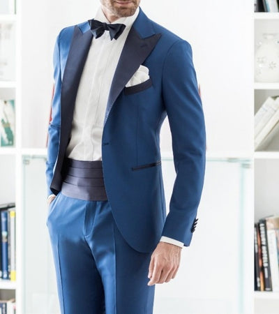 Brand New GroomsmenOne Button Groom Tuxedos Peak Navy Blue Lapel Men Suits Wedding Best Man Blazer ( Jacket+Pants+Tie) C334