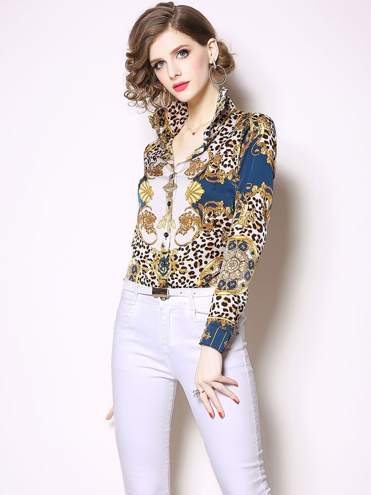 Leopard Print Female Elegant Shirt New Brand 2019 Spring Fashion Turn-down Collar Women Casual Blouses Shirts N550