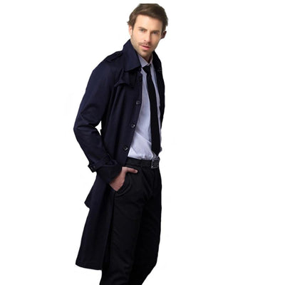 Trench Coat Men Casual Masculino Overcoat Slim Long Greatcoat Single Button Windbreak Comfortable Size S-9XL 18360-5