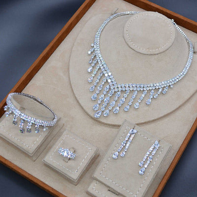 Luxury Long Tassel Drop 4PC Saudi Arabia Silver Jewelry Sets For Women Wedding Zircon Crystal CZ Indian Bridal Jewelry Set