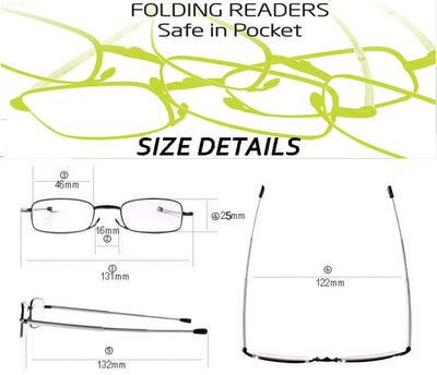 Clara Vida Stainless reading glasses folding for men for women portable +1 +1.25 +1.5 +2 +2.5 +3 +3.5 +4