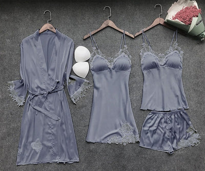Women's Robe & Gown Sets Lace Bathrobe + Night Dress 4 Four Pieces Sleepwear Womens Sleep Set Faux Silk Robe