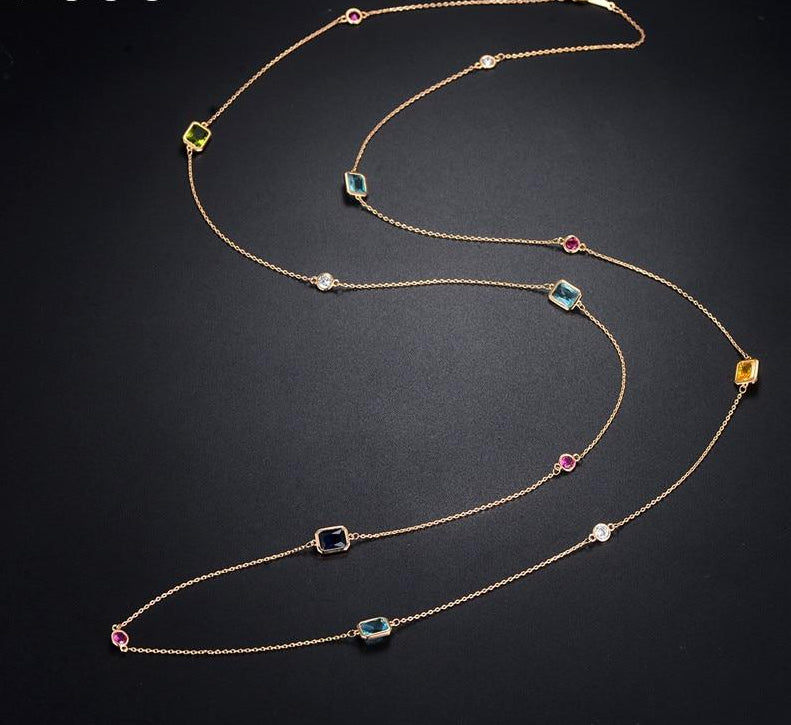 multicolour crystal stones necklace,women's fashion colourful long sweater chain dress party accessories