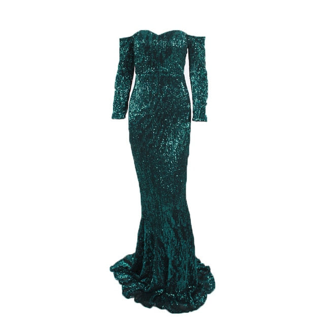 Elegant Slash Neck Sequined Maxi Dress Off the Shoulder Gold Navy Green Sequin Long Dress Floor Length Party Dress  FREE SHIPPING 6-12 DAYS