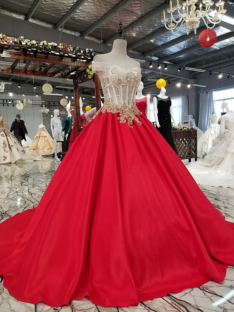 cheap evening dresses 2020 off shoulder v-neck lace up back big bow satin red party dresses with beads and appliques