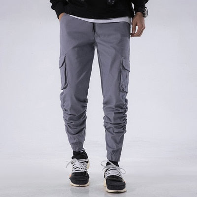 2019 Joggers Men Spring Summer Ankle-Length Cargo Pants Cotton Solid Elastic Waist Military Outwear Trousers Men