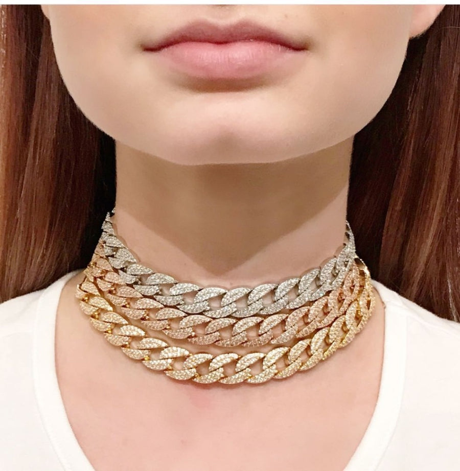 three color Statement Cuban Link Chain Choker Necklace adjust Women Wedding Bijoux Wholesale