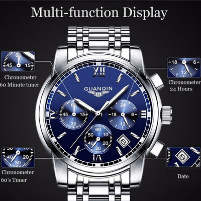 NEW Relogio Masculino Mens watches Top Brand Luxury Quartz business Chronograph Watch Swimming Wristwatch relojes hombre