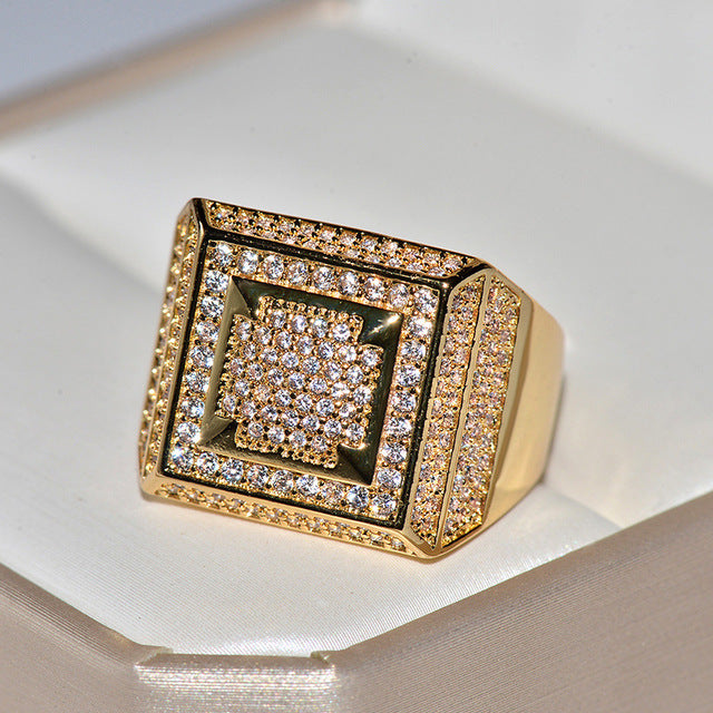 Gold Bling Hip Hop Big Rectangle Band Rings for Man Fashion Silver Party Jewelry Best Gift Silver 2019