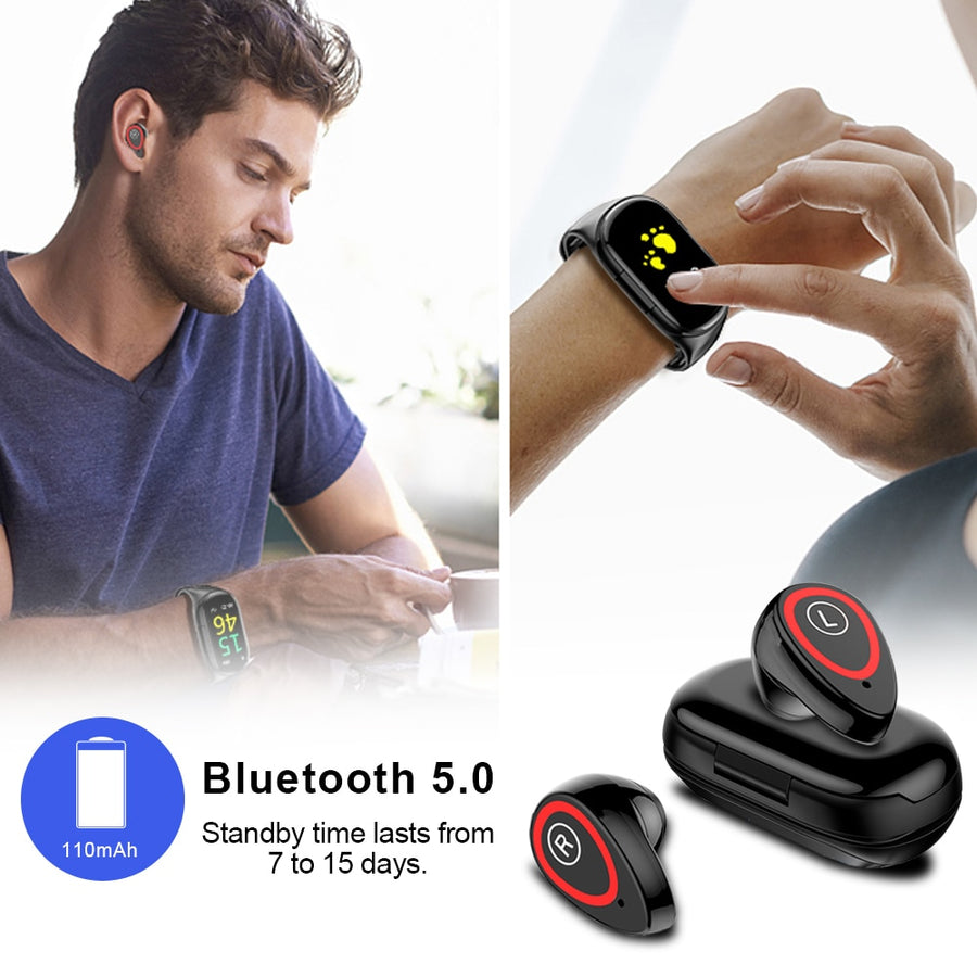 TWS Bluetooth 5.0 Earphone Wireless Headphones for phone Smart Watch with Heart Rate Monitor True Wireless Stereo Sports Earbuds