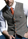 Mens Suit Vest Notched Plaid Wool Herringbone Tweed Waistcoat Casual Formal Business Groomman For Wedding Green/Black/Green/Grey free shipping 5-10 days