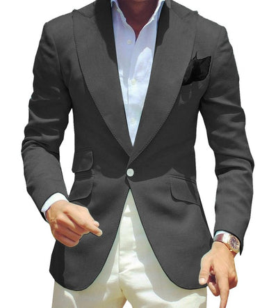 Men Formal Suit Slim Fit Casual One Piece One Button Business Groomsmen Grey Green Champagne Lapel Tuxedos for Wedding Blazer