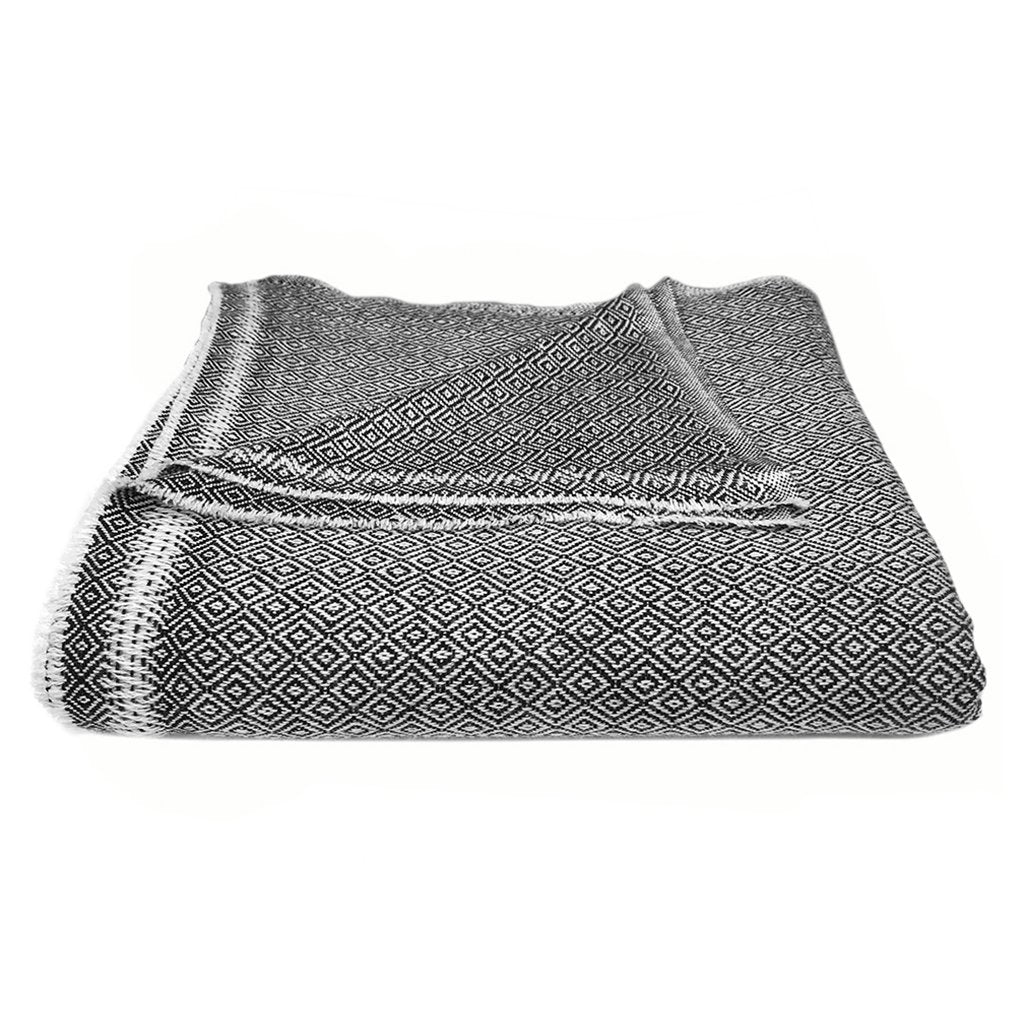 Handmade Woven Himalayan 100% Cashmere Throw Blanket - Black and White Diamond Pattern
