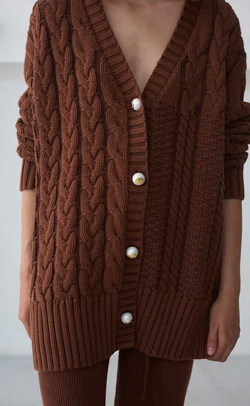 ARIA BROWN CARDIGAN