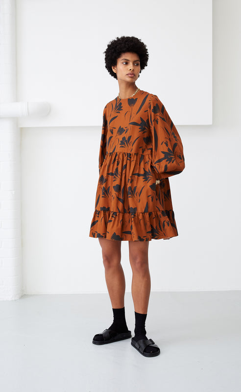 EFFIE BOTANICAL RUST DRESS
