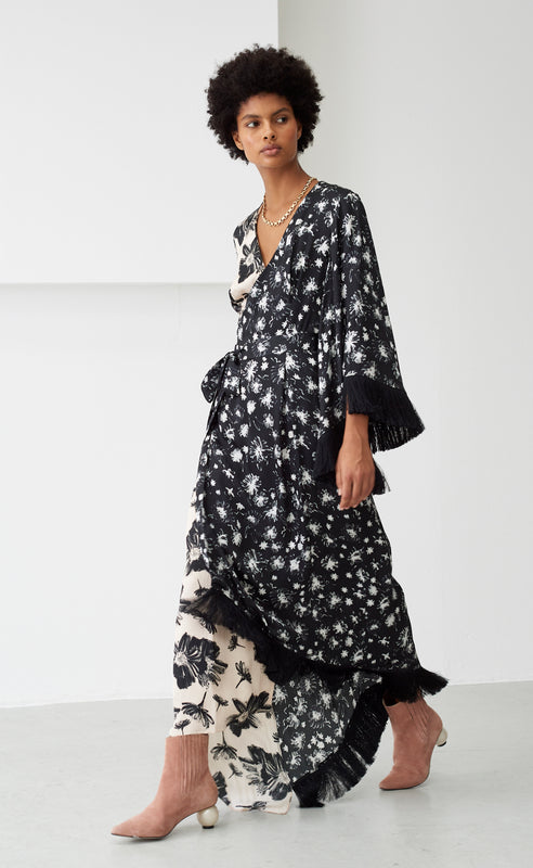 SYLVIE BLACK AND IVORY FLORAL DRESS