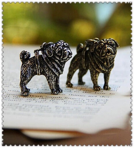 Gunmetal Plated Pug Paperweight