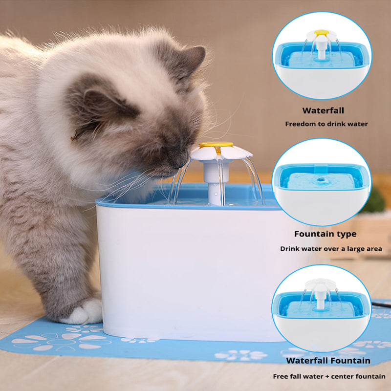 Automatic Drinking Fountain Blue for Cats & Dogs