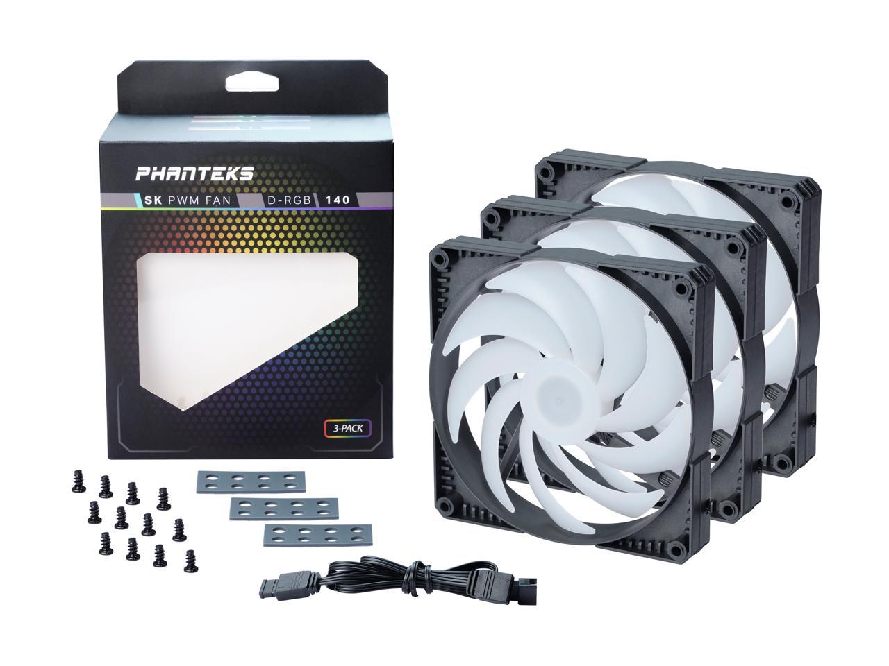 Phanteks SK 140mm PWM Fan, Digital RGB,3pack, Black