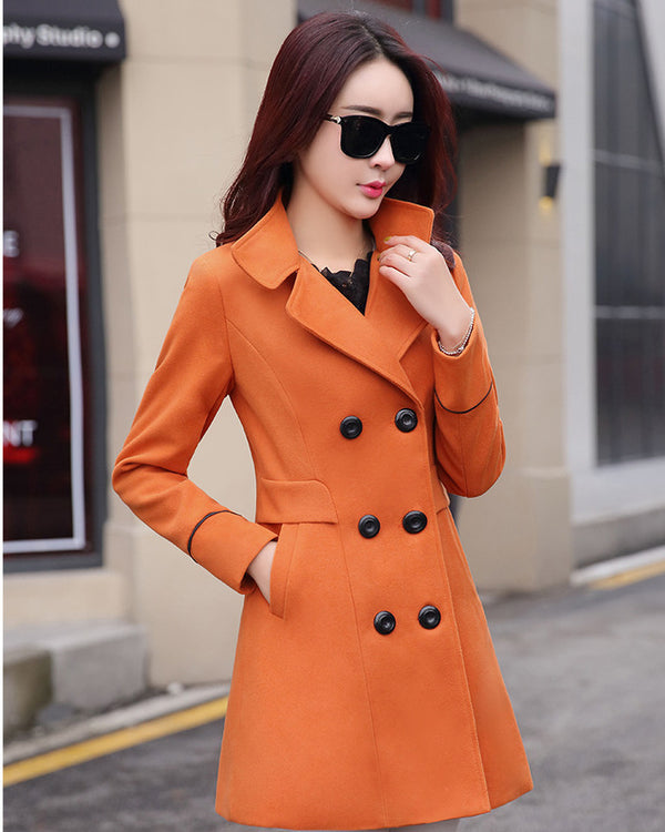 2019 Women's autumn and winter coat new Korean version of the Slim woolen coat Girls long woolen coat