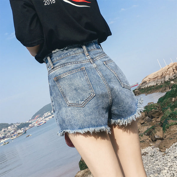 Net red denim shorts female 2019 summer new high waist wide leg pants were thin burr Korean wild casual pants