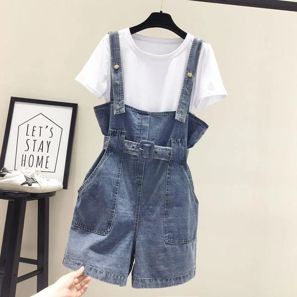 Spot strap jeans shorts female summer new Korean students loose high waist suspenders two sets