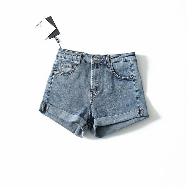 Fast selling European and American style new solid color flanging elastic denim shorts for women h426 in summer 2019