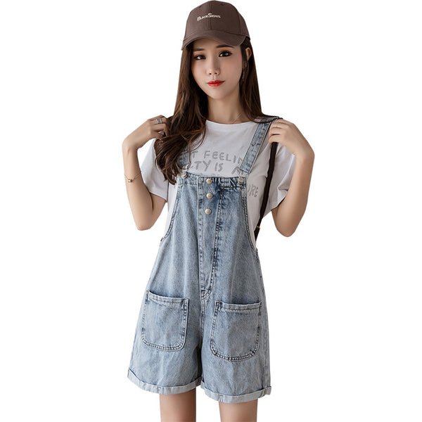 Denim overalls girls summer 2019 new Korean students loose casual wide leg pants a generation of fat