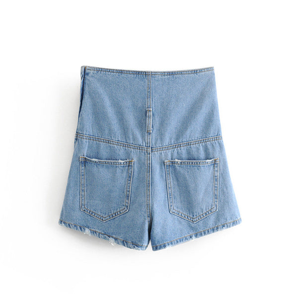 European and American Wind 2019 Summer New Solid Color High Waist Strap Denim Shorts Female Z470