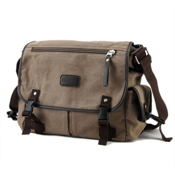 Multi-Zipper Classic Canvas Messenger Bag
