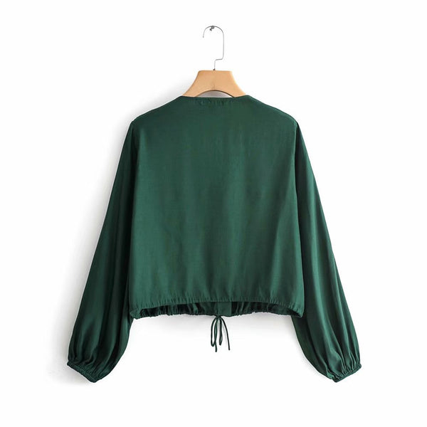 European and American style 2019 summer new V-Neck long sleeve solid color cardigan shirt women's top B211