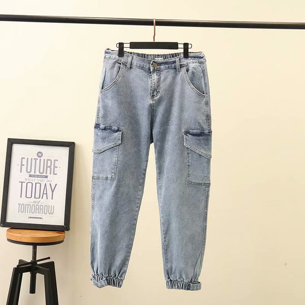 Basic Elastic Cuffed Pocketed Jeans