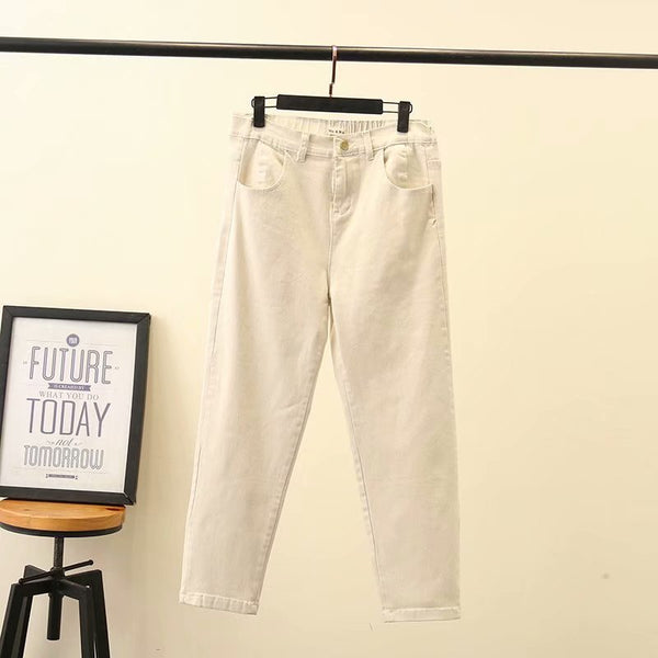 Elastic Waste Basic Loose Jeans