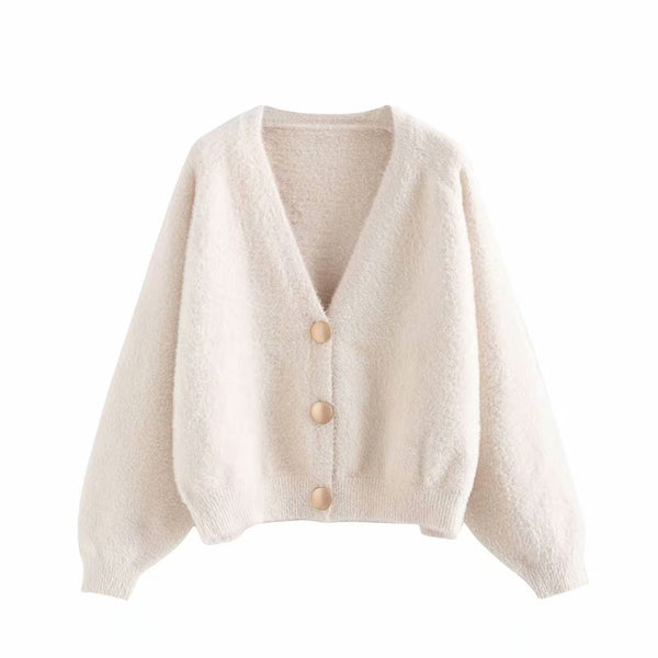 Europe and the United States wind 2019 summer new V-neck imitation mink fur cardigan women's mink fur T2171