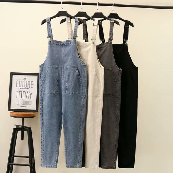 Fat MM large code plus fertilizer, and autumn new style Korean style-reducing elastic loose denim back-band pants 614N8023
