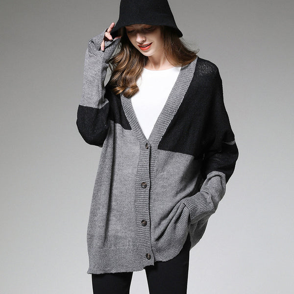 Europe and the United States 2019 autumn new ladies lazy wind contrast color knitted cardigan ladies long loose coat 18673