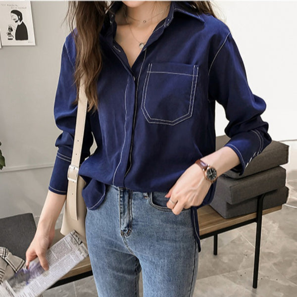 2019 new winter female long-sleeved shirt loose lazy retro Hong Kong flavor wind jacket solid color shirt shirt tide