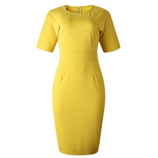 Amazon wish yellow cross-border explosion models temperament was thin dress summer fashion dressD014