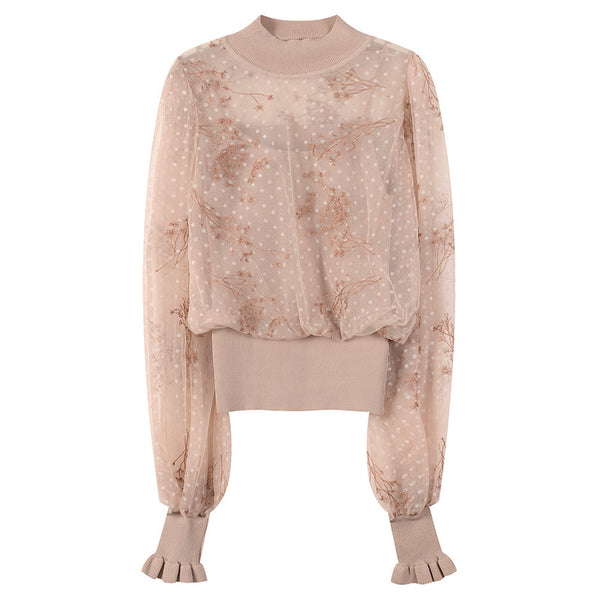 Korean fashion embroidery stitching knit tops fake sling two new fall wild thin lace shirt thin section