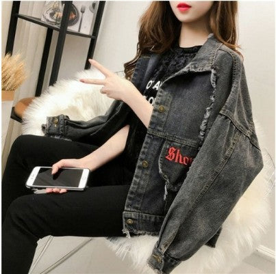 Casual denim jacket female short paragraph Spring 2019 new Korean embroidery loose bf Hong Kong flavor fashion jacket coat