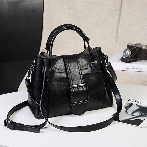 Single Shoulder All-Season Leather Handbag