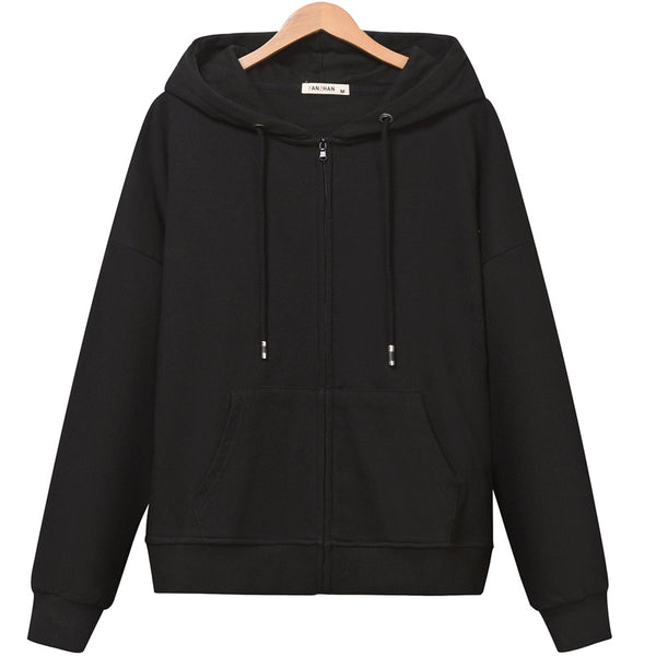 2019 new winter solid color hooded sweater thin female models zipper cardigan hoodie wild college baseball uniform