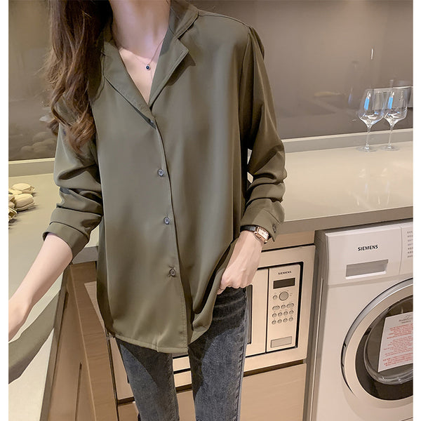 2019 Spring and Autumn new Korean air quality suit collar loose T-shirt design sense niche long-sleeved shirt shirt