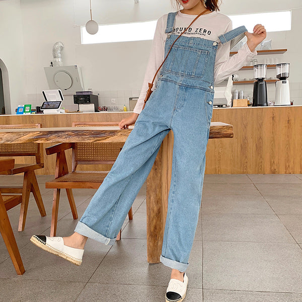 HyunA jeans female autumn 2019 new Korean version was thin straight bib pants wide leg pants loose trousers