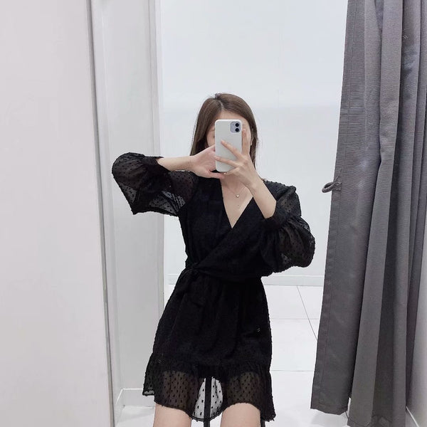 Europe and the United States wind 2019 autumn new fashion trend wind gauze dress A698