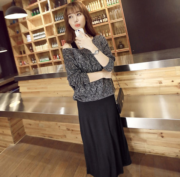 2020 spring new Korean fashion long-sleeved sweater skirt suit cultivating wild solid color dress female