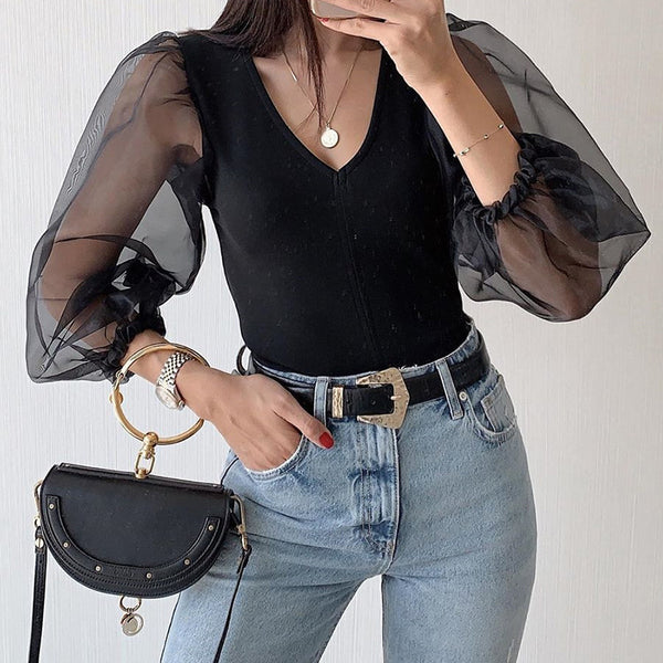 Chiffon V-neck T-shirt women in Europe and America 2019 cross-border selling black stitching influx of women bubble long-sleeved shirt chiffon shirt
