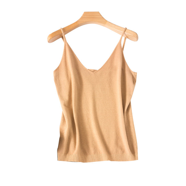 Knit camisole female inside the ride Waichuan Slim was thin straps bottoming female summer sleeveless shirt a generation of fat