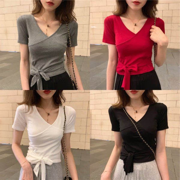 2020 summer new design sense niche lace Slim thin V-neck short-sleeved T-shirt female short paragraph jacket tide effort